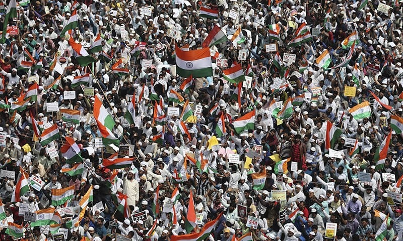 Tens of thousands protest against citizenship law in India