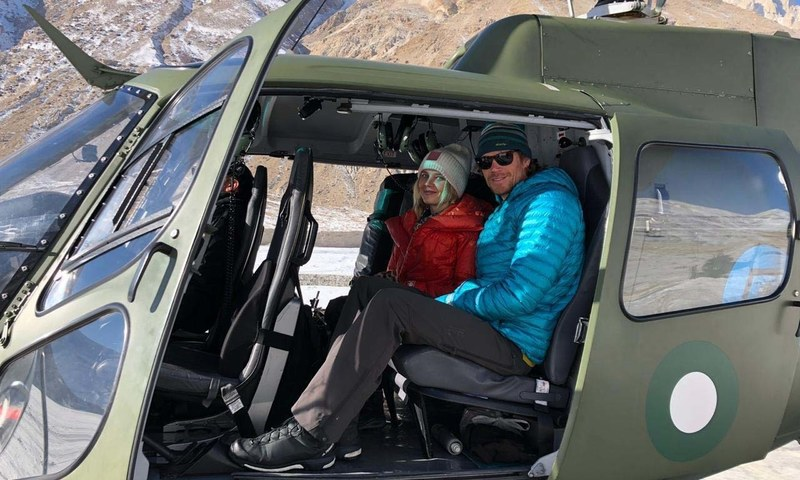 Pakistan Army Aviation pilots rescue 2 foreign mountain climbers from Broad Peak, Baltoro Glacier