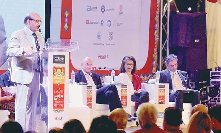 Sardar Masood Khan speaks at the event on Sunday.—Tahir Jamal / White Star