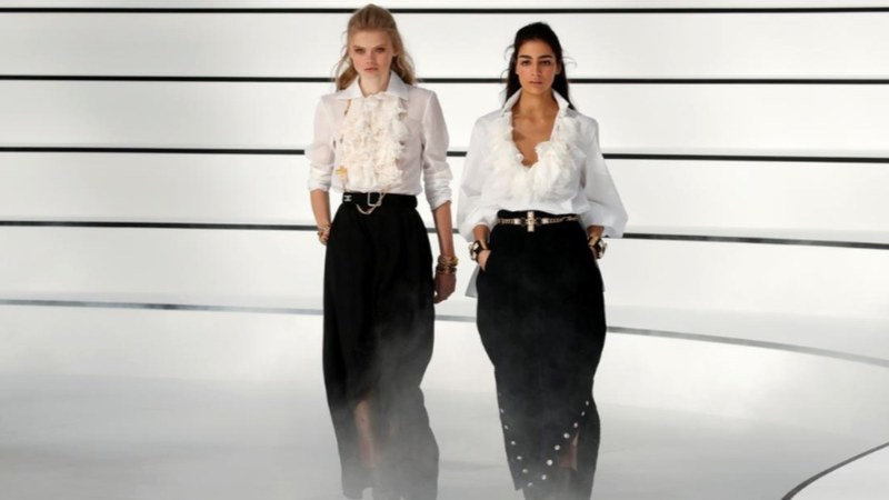 Loose, studded trousers split open at the sides and jodhpur-style looks took centre stage.
