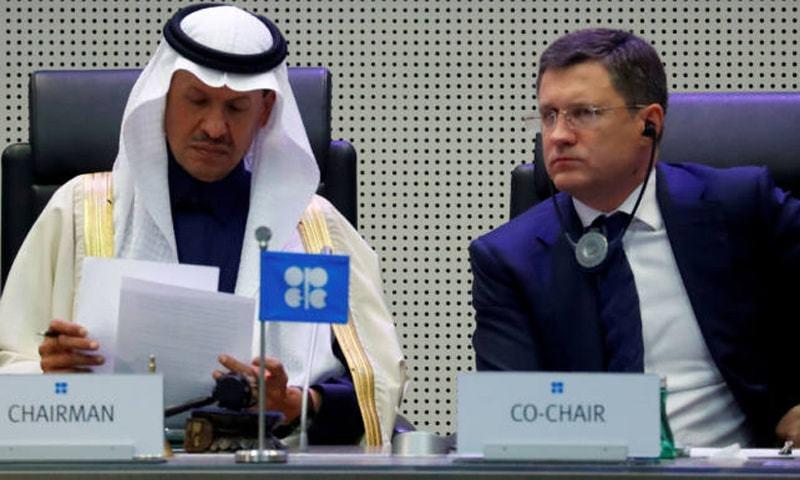 اوپیک اجلاس کے موقعے پر سعودی اور روس کے وزرائے توانائی—رائٹرز