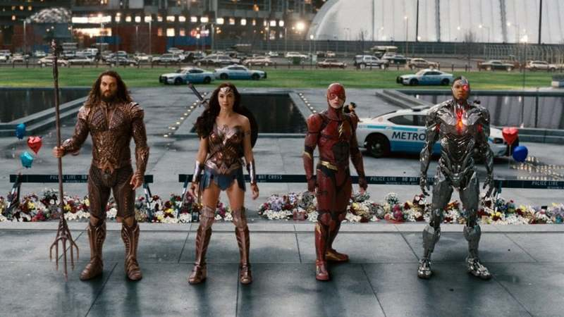 This image released by Warner Bros. Pictures shows Jason Momoa, from left, Gal Gadot, Ezra Miller and Ray Fisher in a scene from Justice League.