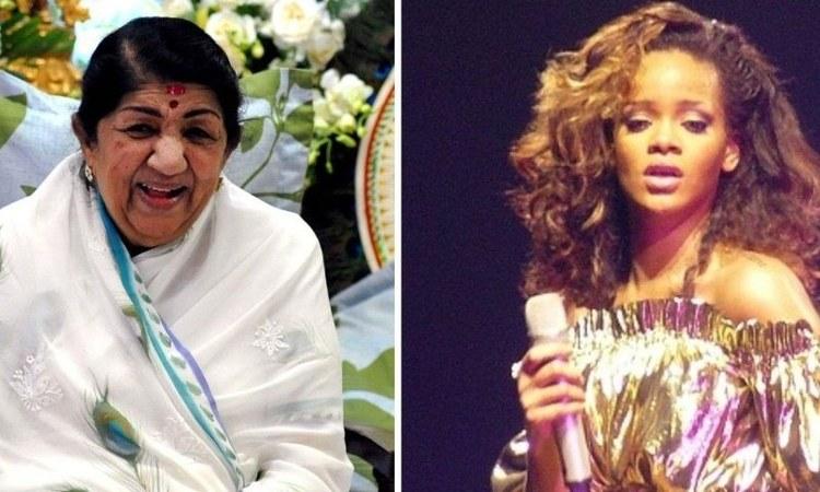 Lata Mangeshkar and Rihanna. — Photos courtesy of AFP/Wikimedia Commons