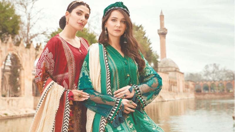 Ayeza Khan and Turkish actress Gulsim Ali for Maria B. lawn