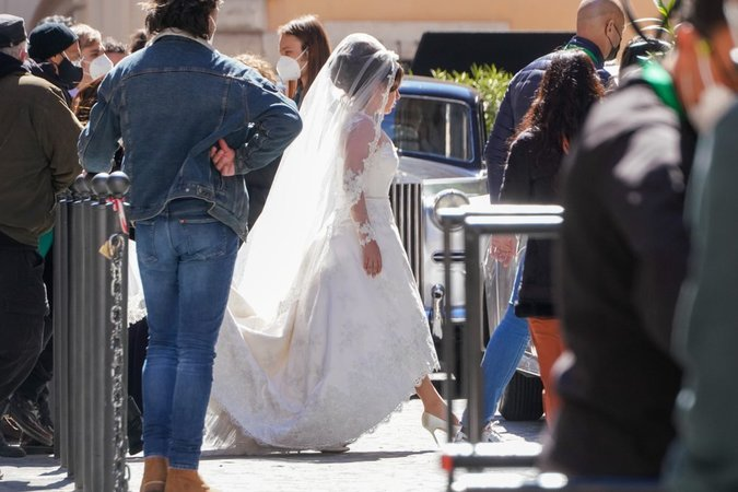 Lady Gaga plays Maurizio Gucci's former wife Patrizia Reggiani during the shooting of a movie by Ridley Scott. — AP