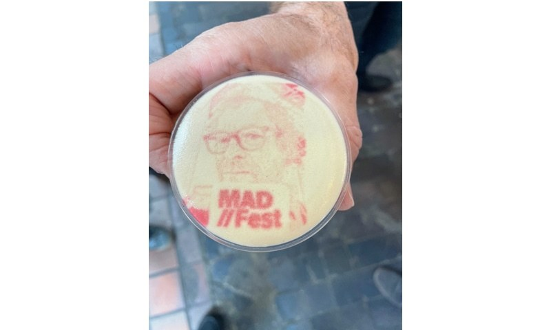 **My favourite moment at MAD//fest . I met Yossi fresh from Tel Aviv who printed a picture of my face in a cup of coffee. He told me his largest market is Japan.**