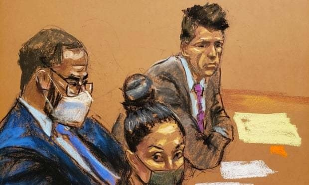 R. Kelly, in this courtroom sketch, sits with his attorneys during the trial in Brooklyn. — Reuters