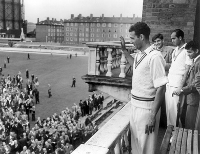 Kardar waves to Pakistani supporters from the balcony of the Oval Cricket Ground in Edgbaston in 1954.