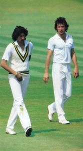 Mentor and prodigy: Khan with Wasim Akram during the 1987 England tour.