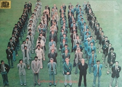 Group photo of teams competing in the 1979 World Cup. The Pakistan squad (second from left): Asif Iqbal, Sadiq Mohammad, Iqbal Qasim, Wasim Bari, Wasim Raja, Javed Miandad, Majid Khan, Mudassar Nazar, Haroon Rashid, Hassan Jamil, Sikandar Bakht, Zaheer Abbas, Imran Khan, Sarfraz Nawaz and a team official.