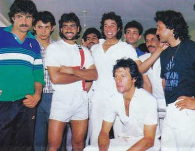 Khan and his merry men (from left): Zakir Khan, Saleem Jaffar, Mohsin Kamal, Mansoor Akhtar, Wasim Akram, Shoiab Mohammad, Tauseef Ahmed and Abdul Qadir.