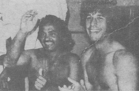 Mushtaq Muhammad and Imran Khan celebrate Pakistan's victory against Australia in Sydney, January 1977.