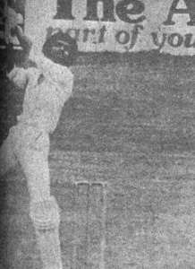 Raja lofts Garner for a first-ball six! Pakistan vs. WI, April, 1977.