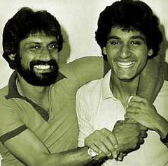 Wasim with brother Rameez after the latter was named the Pakistan U-19 team's captain in 1981. Rameez went on to play and then briefly captain Pakistan. Today he is a respected TV commentator.