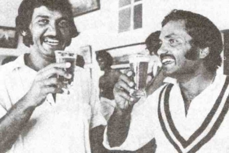 Pepsi, what? There was nothing soft about the way Pakistan cricket teams used to celebrate victories. Here Sadiq and skipper Mushtaq rejoice Pakistan's series levelling victory against Australia with pints of beer (Sydney, 1976). In the background is Imran Khan, who took 12 wickets in the match.