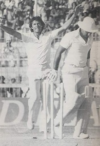 Imran uproots Indian skipper, Sunil Gavaskar's stumps during the third Test (in Karachi) during the 1982-83 Pak-India series.