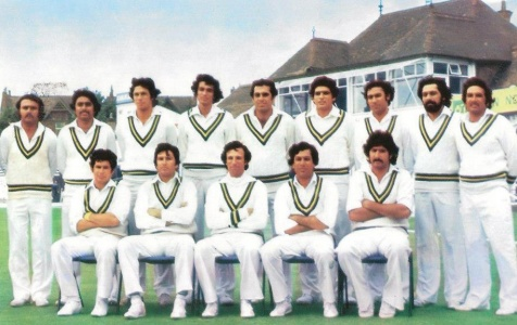 Pretty miffed: Pakistan squad at the 1979 World Cup: (From left): Iqbal Qasim, Javed Miandad, Imran Khan, Sikander Bakht, Haroon Rashid, Hasan Jamil, Muddasar Nazar, Wasim Raja, Sadiq Muhammad; (sitting from left): Wasim Bari, Majid Khan, Asif Iqbal, Zaheer Abbas and Sarfraz Nawaz. The photo was taken soon after Nawaz and Asif had had first of the many arguments on the tour.