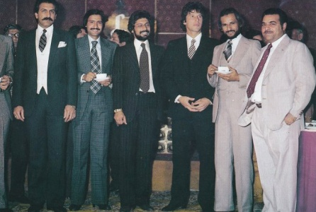 Settling down: Some Pakistani cricketers at Raja's wedding reception. (From left): Asif Masood, Shafiq Ahmed, Wasim Raja, Imran Khan, Taslim Arif and Munir Hussain (Sports journalist and TV commentator).