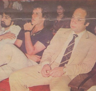 Imran Khan and then Chief Minister of Punjab, Mian Nawaz Sharif (right), at a function in Lahore soon after Pakistan won the 1987 series against India.