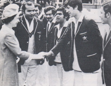 19-year-old Imran Khan being introduced to the Queen of England by skipper Intikhab Alam, 1971. For a while Alam forgot Imran's name until reminded by a fellow player.