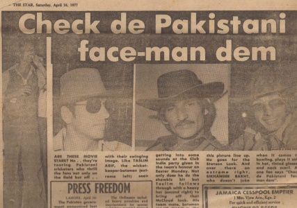 Play hard, party harder: A WI feature on Pakistan team's visit to a WI nightclub during the 1977 Pak-WI tour. Seen from left: Reserve wicketkeeper, Taslim Arif, who joined the house band to bash out some tunes; Stylish Pakistani opener, Majid Khan; Taslim and Pakistan fast bowler, Sikandar Bakht.