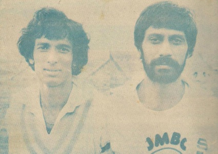 Sikander and Raja during the 1979 Pak-India series. They topped the bowling and batting averages respectively during the series.