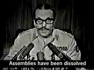 Ziaul Haq addressing the nation on PTV after taking power through a military coup in July 5 1977.