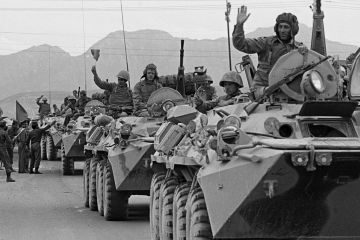 Soviet troops enter Afghanistan, December 1979.