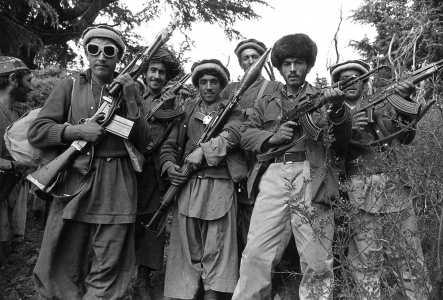 An early batch of 'Afghan Mujahideen' gather in the tribal areas of Pakistan, late December 1979.
