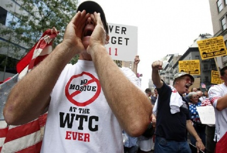 """Protesters march in New York on September 11, 2010 in opposition to the proposed """"Ground Zero Mosque"""" — Reuters"""