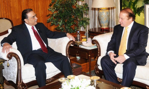 PM Sharif meets President Zardari, felicitates on completing term