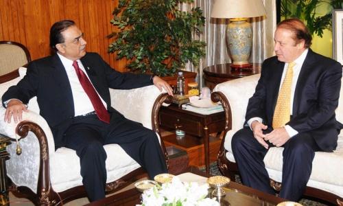 PM Sharif meets President Zardari, felicitates on completing term