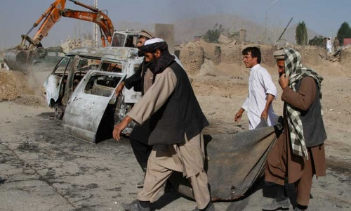 Roadside bomb hits bus, killing seven in Afghanistan