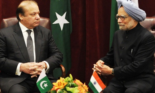 Nawaz Sharif and Manmohan Singh met for just over one hour at a New York hotel on the sidelines of the UN General Assembly meeting in September,2013.  — AFP/file