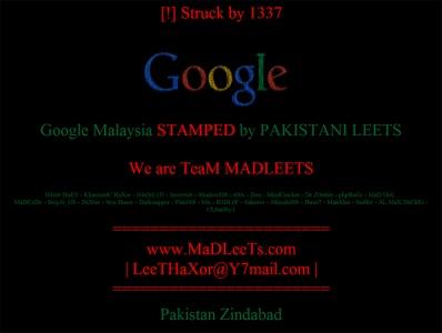 Google Malaysia hacked by Pakistani team