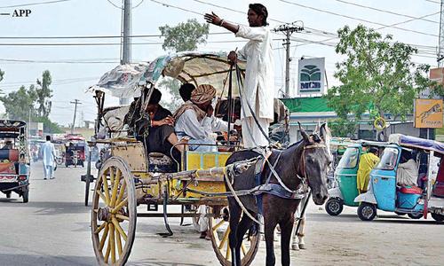 Fading traditional tonga ride in Multan