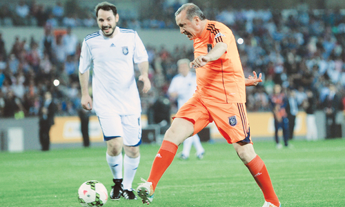Erdogan 'scores hat-trick' in Turkey football match