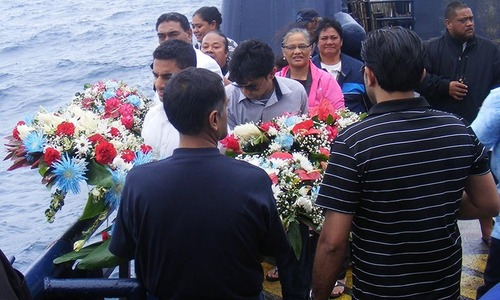 Memorial at sea for Haris Suleman