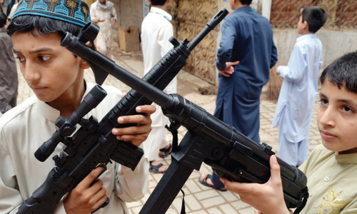Toy guns favourite item for children on Eid