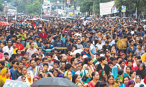 Protest against media crackdown in Dhaka