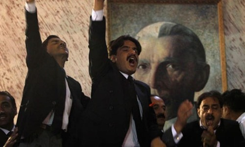Lawyers' observe strike against PTI, PAT protests