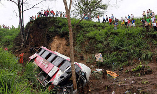 Bus falls down gorge in northern India, killing 22