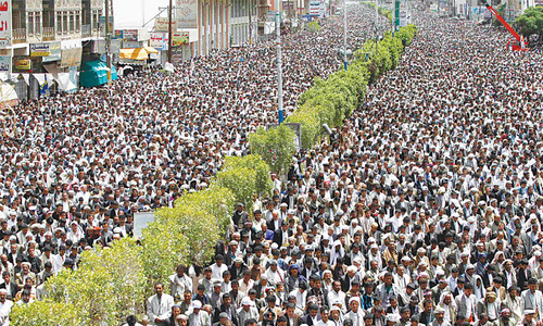 Shias hold big anti-govt rally in Yemeni capital