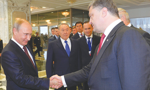 Russian, Ukrainian presidents meet face to face in Minsk