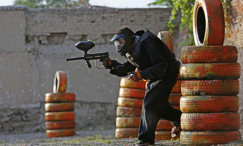 Playing paintball in Kabul