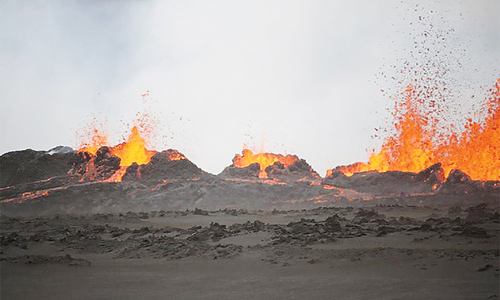Iceland volcano spews more than 50 metres high lava