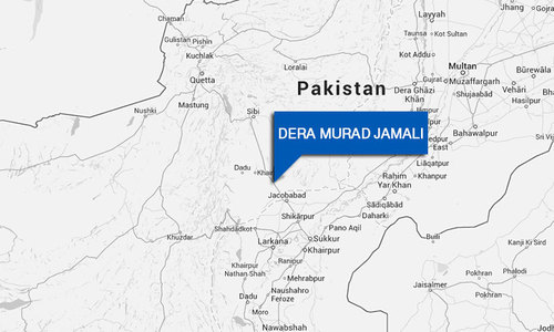 PTI supporters in Dera Murad Jamali hold sit-in