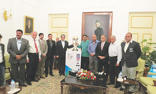 Sindh governor unveils ICC World Cup trophy