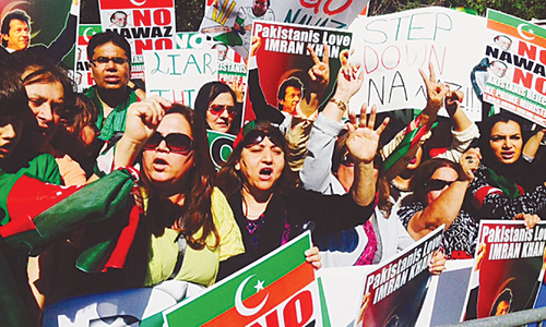 PTI and PML-N workers hold protests in  New York