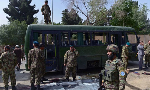 Six killed as twin suicide attack hits army buses in Kabul